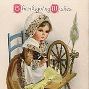 Thanksgiving Wishes - Child - Spinning Wheel - Real Ribbon - Glitter