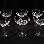 SOLD Set of Six Stuart Champagne/Tall Sherbet Glasses, Lyric Pattern, Vintage Cut Crystal, Eng