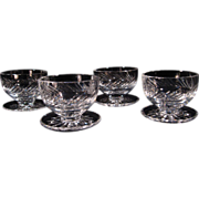 "SOLD (4) SCARCE Waterford ""Michelle"" Footed Dessert Dishes, Cut Crystal, Glass, Sign"