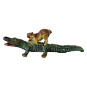 SOLD Vienna Bronze Pug w/Alligator Vintage