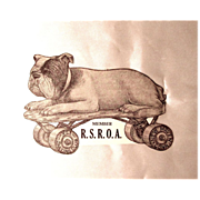Die Cut Skating Bulldog Sticker/Label Vintage