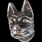 8 Inch Sterling Silver Boston Terrier/French Bulldog Hat Pin