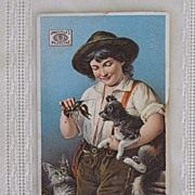 Antique Trade Card Boy with Dog and Cat