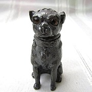 SOLD Antique Figural Salt Shaker of Pug Dog w/Glass Eyes