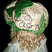 SOLD Fabulous antique exuberant victorian velvet and leather bonnet