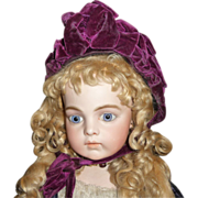 SOLD Stunning antique purple velvet bonnet with french label