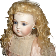 SOLD Fabulous antique blond mohair doll wig in rare style
