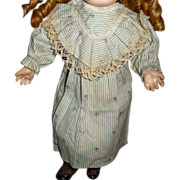 SOLD Antique dress and bonnet set for small doll