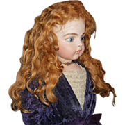 SOLD Fabulous antique red extended length mohair doll wig