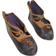 SOLD Great pair of antique Jumeau leather doll shoes