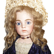 SOLD Beautiful antique dark blond large mohair doll wig