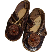SOLD Lovely pair of antique doll shoes with original rosettes