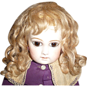 SOLD Beautiful antique golden blond mohair doll wig with bangs