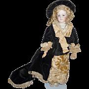 SOLD Spectacular antique french fashion poupee dress and bonnet- original