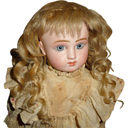 SOLD Lovely small size antique blond mohair doll wig with bangs and long curls