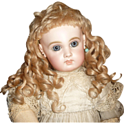 SOLD Gorgeous antique blond mohair doll wig with bangs and curls