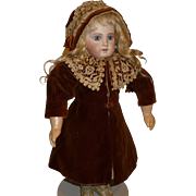 SALE Charming antique velvet and lace coat dress and hat for bisque doll