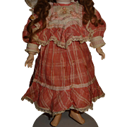 Adorable antique factory made pink doll dress for small to medium german or french doll