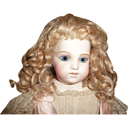 SOLD Fabulous antique thick blond mohair doll wig with curls and bangs