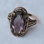 REDUCED Amethyst ring  solid 10 k yellow gold mounting size 9.5