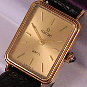 CONCORD wristwatch ladies 14K yellow gold blue sapphire crown