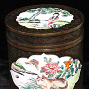 REDUCED Chinese Canton enamel on bronze round box Ching Qing dynasty