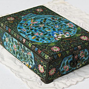 REDUCED Chinese cloisonne box silver wire enamel sign