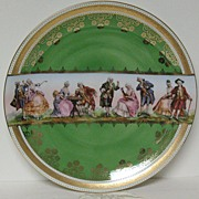SALE German porcelain charger with scenes of court a ladies including chess game