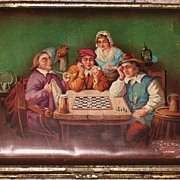REDUCED Chess players cigar metal humidor box  with chess game players 19th century