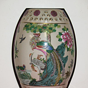 REDUCED Chinese porcelain wall vase with fitted wooden base