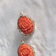 REDUCED Natural Coral solid 14K gold and diamonds lever back Earrings