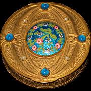 French bronze gilded dore jeweled enameled box 19th century