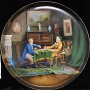 REDUCED French chess LIMOGES porcelain charger with chess players 15.7""