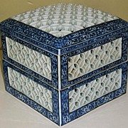REDUCED Japanese porcelain Hirado Arita blue and white reticulated incense burner