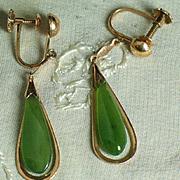 Natural Jadeite and 18K gold dangle drop earrings