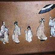 SALE Japanese lacquer panel MOP inlay Shinto wedding procession sign