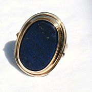 SALE 14 K  gold ring withlarge  Lapis Lazuli cabochon size 10
