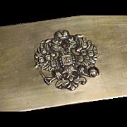 Imperial Russian  cigar box gilded copper Romanov double eagle coat of arms circa 1915