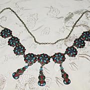 """REDUCED Russian enamel 900 silver necklace circa 1880 24"""" (60 cm)"""