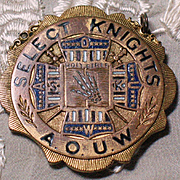 Antique 9k gold medal Select Knights AOUW 19th century