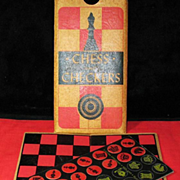 Traveling chess  checkers packet size playing pieces circa 1900