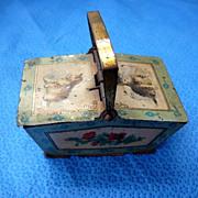 Tin Litho Cat Scene Miniature Doll Picnic Basket