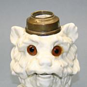 Rare Terrier Dog Figural Antique Oil Lamp