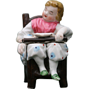 Miniature Sleeping Baby in High Chair Staffordshire Snuff Box