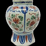 18th C. Dutch Delft Ceramic Octagonal Rim Vase by Pieter Gerritsz
