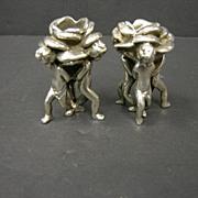 Sterling Figural Putti Candlesticks