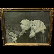 19th C. German Stevengraph Woven Silk Framed Image of Nuns Praying & Reading