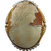 Early 20th Century Shell Cameo w/ Pearls Diamonds 18 K Gold Filigree Brooch Necklace