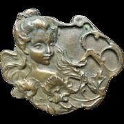 Art Nouveau Bronze Belt Buckle
