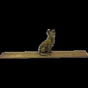 Bronze German Shepherd Dog Miniature Figurine Statue on Ruler Base